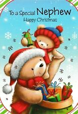 "cute / open NEPHEW happy christmas card - large 9"" x 6"" and 7.5"" x 5.5"" cards"
