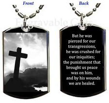 Isaiah 53:5 By His Wounds We Are Healed-Your Protection-Dog Tag Pendant Necklace