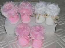 JOAN'S HAND KNITTED BABY/ REBORN  BOOTS SIZE 0-3MTHS