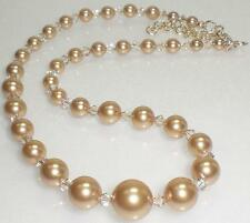 Champagne Crystal Gold Pearl 14K G.F. Necklace Made With Swarovski Elements
