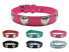 Western Heart Leather Pet Dog Collar