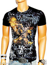 NWT MENS FIRE EAGLE BLACK DESIGNER TSHIRT MMA MUSCLE FOIL GRAPHIC TATTOO BC-071