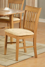 8 NORFOLK DINING ROOM KITCHEN DINETTE CUSHION OR WOOD SEAT CHAIRS IN OAK FINISH