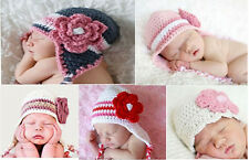 Lovely Cute Gorgeous Baby Newborn Flower Crochet Hat Beanie 0-6Month 8 Color New