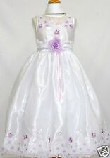 Girl Pageant Evening Bridal Formal White Dress w/lilac Flower size 2 4 6 8 10 12