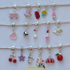 1 or 4 Silver Plated Charm Bracelet Dangle Beads on Bail or Lobster Clasp Clips