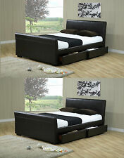 *NEW* 4FT6 DOUBLE 5FT KING SIZE BLACK / BROWN LEATHER SLEIGH BED & MATTRESS DEAL
