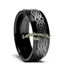 8mm Tungsten Carbide Black IP Celtic Mens Wedding Ring SIZE 9,10,11,12,13