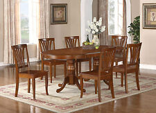 "7PC OVAL NEWTON DINING ROOM SET WITH EXTENSION LEAF TABLE 6 CHAIRS 42""X78"""