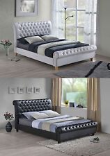 NEW 4FT6 DOUBLE 5FT 6FT SUPER KING SIZE CHESTERFIELD LEATHER BED & MATTRESS DEAL
