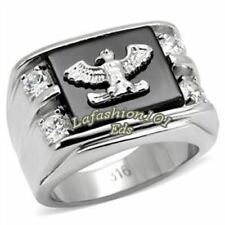 316 Stainless Steel American Eagle on Onyx with CZ Mens Ring SIZE 9,10,11,12,13
