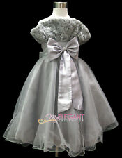 Gray Rosette Pageant Wedding Flower Girls Dress Prom Gown Size 3-12 Age 2-13Y