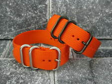 New 22mm  Orange Nylon Diver Strap 3 Rings Watch Band Military fit ZULU Maratac