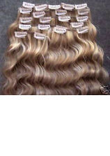 CLIP ON IN WAVY HUMAN  HAIR EXTENSIONS ALL LENGTHS COLOR #8/613 BLONDE BROWN MIX