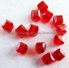 Red Glass 4mm 5x6mm Square Cube Faceted Beads 100pcs