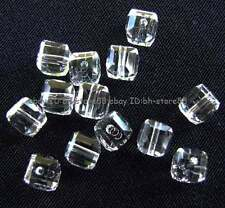 White Clear Glass 4mm 5x6mm Square Cube Faceted Beads 100pcs