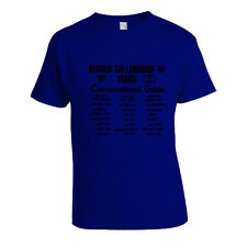 Made in Israel Hebrew Language Conversation Guide Black Print on Blue T-Shirt