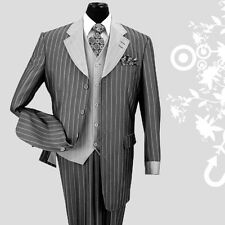Men's 3 piece Luxurious Classic Gangster Pinstripe Wool Feel Suit Black sty-2911