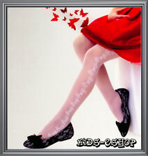 Patterned Flowers Girls Tights White Wedding Communion Bridesmaids 7-8 8-9 9-10Y