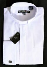 New MENS WHITE TAB COLLAR CLERGY SHIRT Pastor Preacher Minister French Cuff