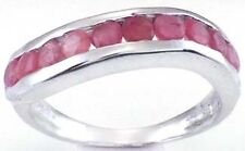 Sparkling Genuine Ruby Ten Stone 1+ Carat Silver Ring Size 7.0 - 7.25     RR35