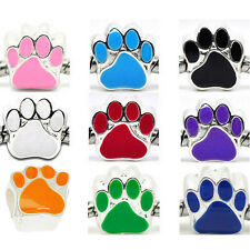 10PCs Enamel Dog's Paw Beads Fit Charm Bracelet 11x11m M0246