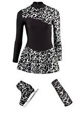 ICE SKATING DANCING FLAME DRESS BOOT COVERS ARM SLEEVES SILVER BLACK SKATE DANCE