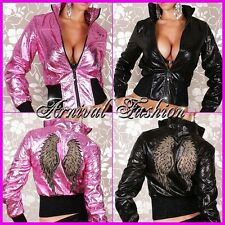 NEW WOMENS SEXY DESIGNER JACKET LADIES SHINY PINK CRASH LEATHER CLUBWEAR FASHION
