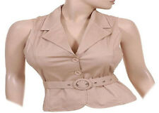 WHITE OR TAN VEST,STRETCH RIB KNIT w COLLAR BUTTONS & BELT w BUCKLE L M S