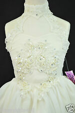 Infant Toddler Girl Party National Glitz Pageant Short Ivory Dress Sz 2 3 4 5 6