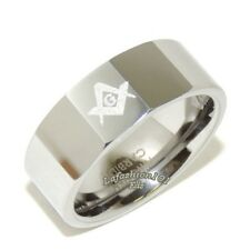 8mm High Polish Tungsten Carbide Mens Masonic Freemason Ring SIZE 9,10,11,12,13