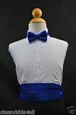 Wedding Party ROYAL BLUE CUMMERBUND CUMBERBAND + BOW TIE Boys Teen Tuxedo Suit