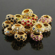 WHOLESALE FASHION CRYSTAL GOLD CLAY SPACER EUROPEAN BIG HOLE CHARM BEAD FINDINGS