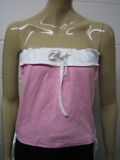 Womens H.L Strapless Tube Top Baby Pink - White Trim - String hem Size 8 - 14