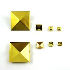 Pyramid Studs Rock Spikes Spots Square Leather Craft DIY Gold