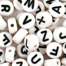 100 Acrylic SINGLE LETTER A-Z White Disc ALPHABET BEADS 7x4mm