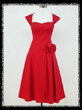 dress190 RED CAP SLEEVED 40s 50s ROCKABILLY PIN-UP VINTAGE SWING PARTY DRESS