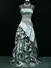 Cherlone Satin Grey Long Lace Prom Ball Wedding/Evening Gown Bridesmaid Dress