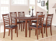 5 PC RECTANGULAR DINETTE KITCHEN DINING TABLE 4 FAUX LEATHER CHAIRS