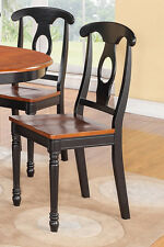 6 NAPOLEON DINING KITCHEN DINETTE WOOD OR LEATHER UPHOLSTER SEAT CHAIR IN BLACK