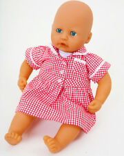 MEDIUM SCHOOL UNIFORM GINGHAM  DRESS TO FIT BABY ANNABELL  DOLLS MANY COLOURS!!