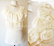 NEW Ivory Cream Cape Ruffle Lace/Rosette/Beaded Accent ROMANTIC Knit Cotton Top