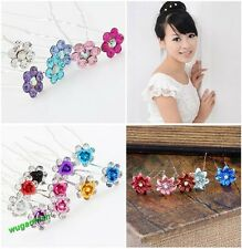 20 Pcs Flower Form With Rhinestone Wedding Party Bridal Diamante Hair Pins