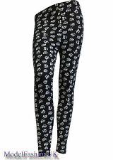 New Ladies Full Length Stretch Fit HEY BOY Print Womens Legging Size 8-10, 12-14