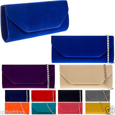 NEW SUEDE VELVET LADIES PARTY PROM EVENING CLUTCH HAND BAG PURSE
