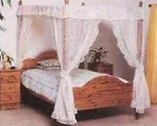 WHITE AND CREAM NET CURTAIN FOUR POSTER DRAPES AND VALANCES SET