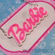 FUNKY LARGE BARBIE NAME NECKLACE CUTE KITSCH RETRO CHARM KAWAII SWEET PENDANT