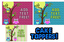 Owls toppers for cake Edible image sugar SHEET topper birthday baby shower 1st