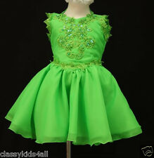C1 Toddler Girl Baby National Glitz Pageant  Dress Sz 1 2 3 4 5 6 7 Lime Green