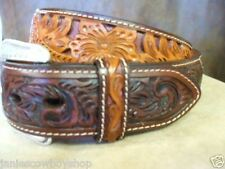3D GENUINE LEATHER WESTERN HAND TOOLED BELT RODEO COWBOY CUTTING PLEASURE 30-42